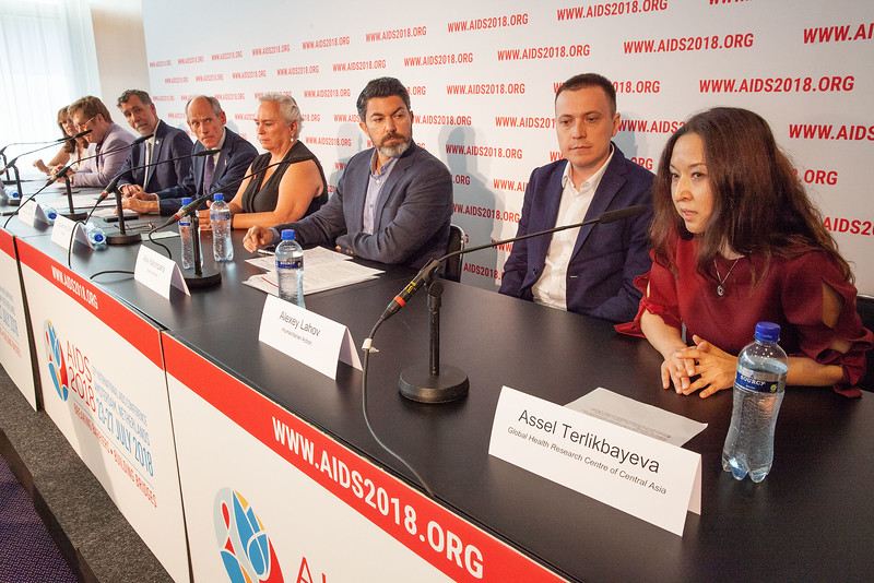 The Netherlands, Amsterdam, 24-7-2018. Pressconference Eastern Europe and Central Asia. Assel Terlikbayeva telling about situation on AIDS/HIV there. Photo: Rob Huibers for AIS. (Please publish always with complete attribution).