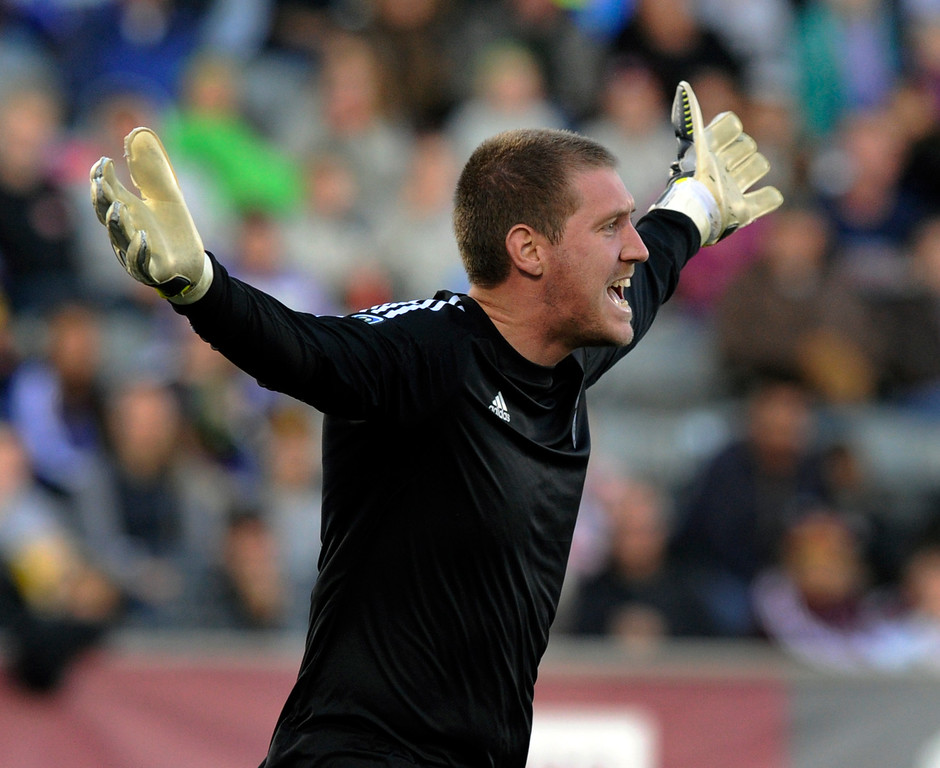 . COMMERCE CITY, CO. - OCTOBER 19: Colorado goalkeeper Clint Irwin appealed to officials for a call in the second half. The Colorado Rapids defeated the Vancouver Whitecaps 3-2 at Dick\'s Sporting Goods Park Saturday, October 19, 2013. Photo By Karl Gehring/The Denver Post