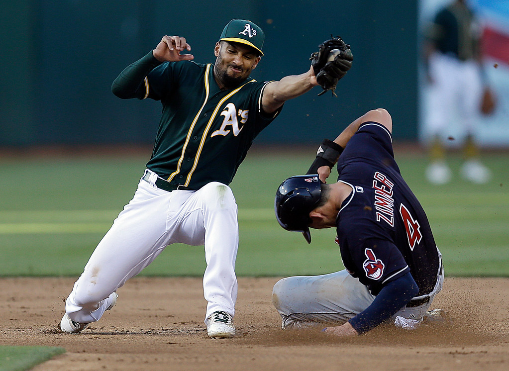 . Cleveland Indians\' Bradley Zimmer, right, slides to beat the tag of Oakland Athletics\' Marcus Semien for a steal of second base during the fifth inning of a baseball game Saturday, July 15, 2017, in Oakland, Calif. (AP Photo/Ben Margot)