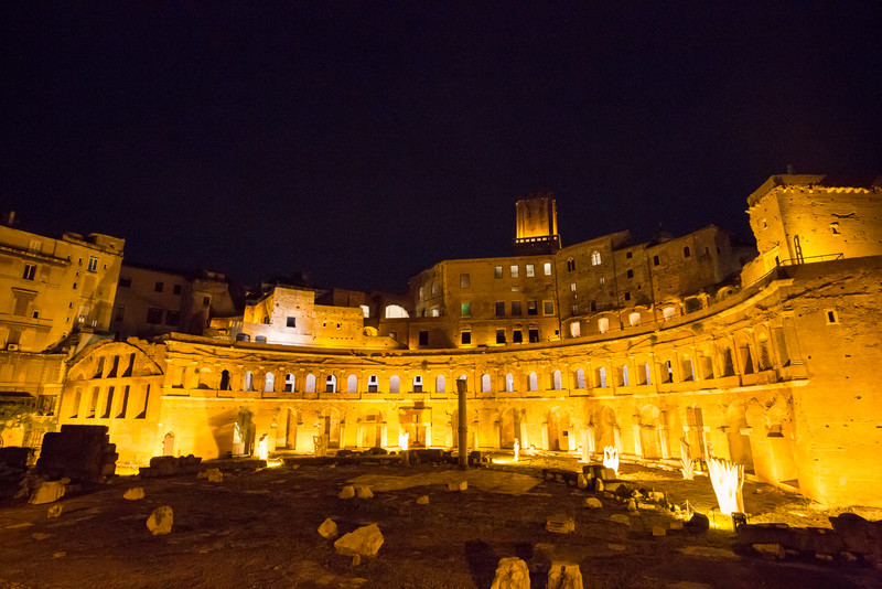 Trajan's Market at night.