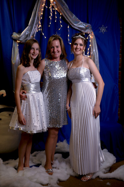 Elaine, Debby, and Audrey all dressed in silver for Audrey's Sweet Sixteen party