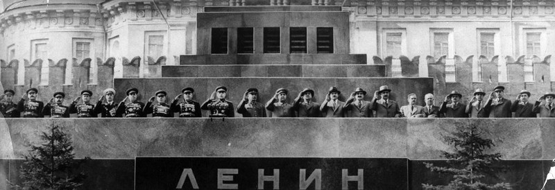 . May 1952:  Russian communist leaders led by Joseph Stalin saluting the May Day Parade in Red Square, Moscow.  (Photo by Keystone/Getty Images)