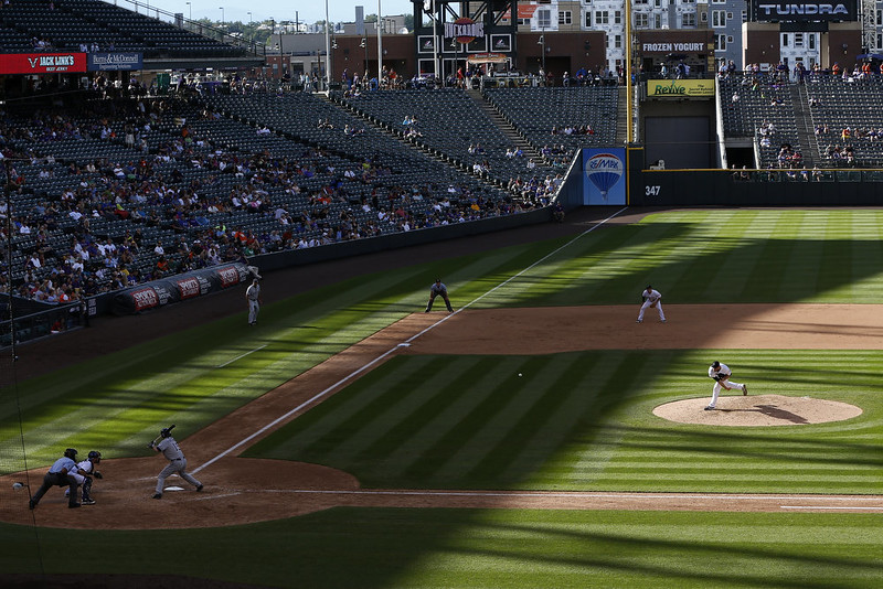 . General view as Adam Ottavino #0 of the Colorado Rockies pitches in the eighth inning of the game against the San Diego Padres at Coors Field on September 7, 2014 in Denver, Colorado. The Rockies won 6-0. (Photo by Joe Robbins/Getty Images)
