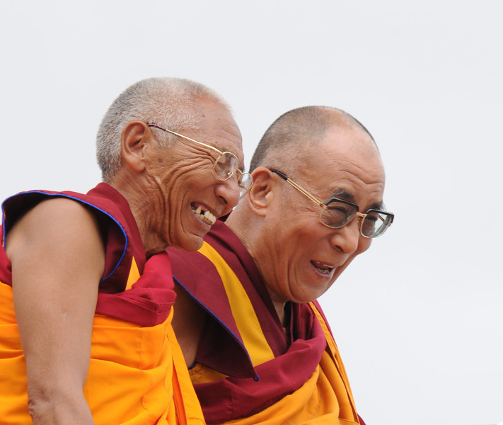 HHDL with the Head Lama (Rimpoche) of Thiksey Monastery in Ladakh.  They are very good friends.