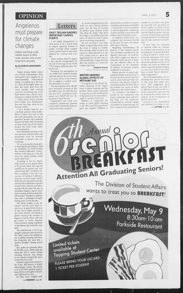 Daily Trojan, Vol. 160, No. 54, April 09, 2007