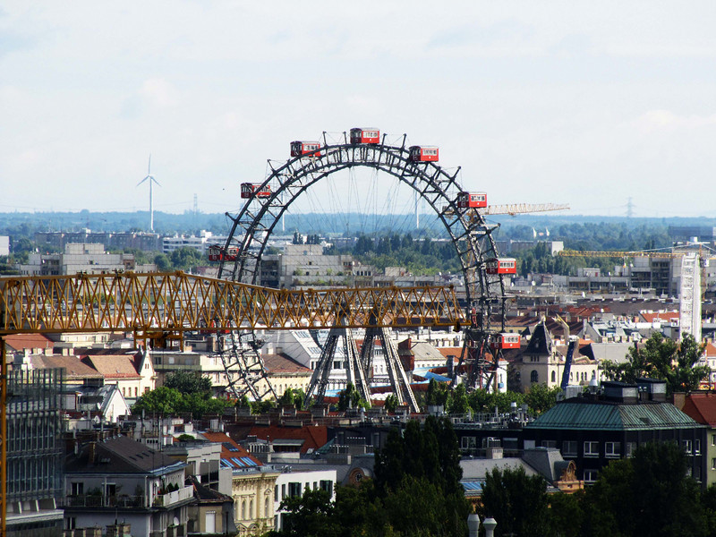 39-Riesenrad, 2 kilometers to the northeast of Stephansdom, was one of the earliest Ferris wheels. It was erected in 1897 and is 212 feet high. The wheel—which originally had 30 gondolas—was severely damaged in WW II. Only 15 gondolas were replaced (every other strut is empty).