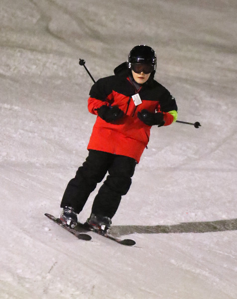 Thomas Dunbar, 11, of Tyngsboro, with the Tyngsborough Elementary School Ski Club, at Nashoba Valley Ski Area. (SUN/Julia Malakie)