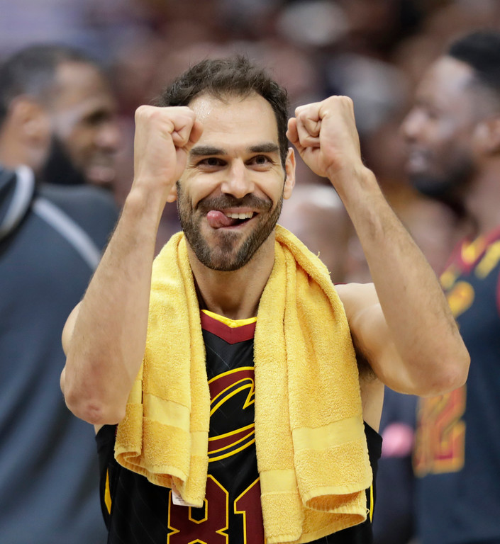 . Cleveland Cavaliers\' Jose Calderon, from Spain, celebrates after the Cavaliers defeated the Indiana Pacers 98-95 in Game 5 of an NBA basketball first-round playoff series, Wednesday, April 25, 2018, in Cleveland. (AP Photo/Tony Dejak)