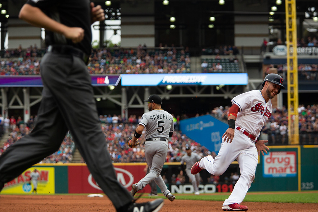 . Yan Gomes of the Cleveland Indians rounds third base during a regular season game against the Chicago White Sox at Progressive Field on June 20, 2018. The Indians defeated the Sox 12-0. (The Morning Journal/Michael Johnson)
