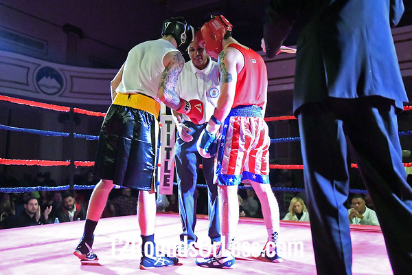 Bout #12:  Nick Duganier, Red Gloves, Duganier Boxing, Cleveland/Tommy's Barbertshop  vs  Adam Kozelka, Blue Gloves, Empire BC/Chagrin Valley BC, Aurora, Ohio, 165 Lbs.-Novice