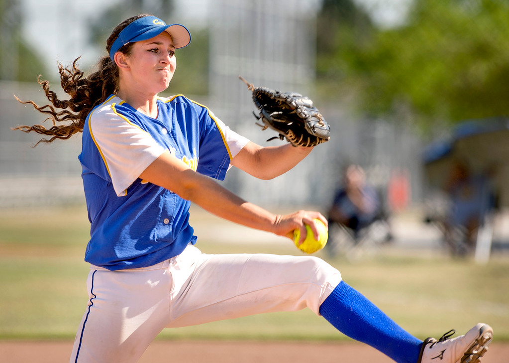 . California High pitcher Trisha Trujillo, #24, vs Santa Fe High at the Santa Fe Springs campus field May 13, 2014.   (Staff photo by Leo Jarzomb/Whittier Daily News)
