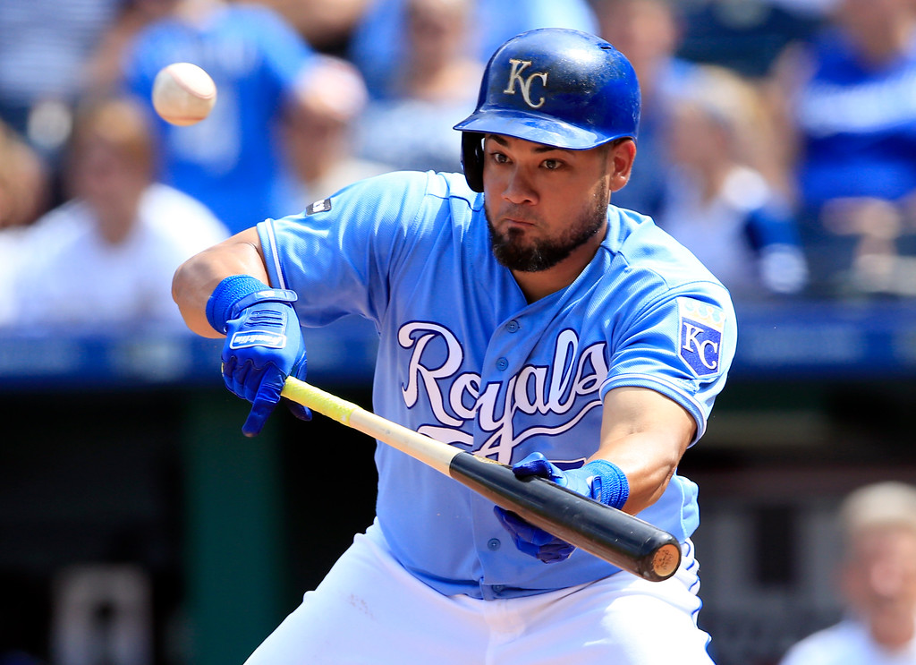 . Kansas City Royals\' Melky Cabrera during a baseball game against the Cleveland Indians at Kauffman Stadium in Kansas City, Mo., Sunday, Aug. 20, 2017. (AP Photo/Orlin Wagner)