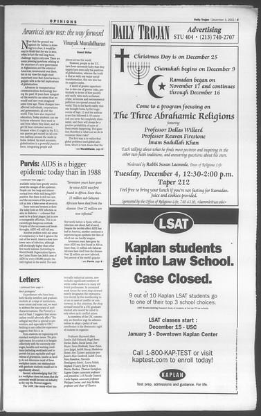 Daily Trojan, Vol. 144, No. 63, December 03, 2001