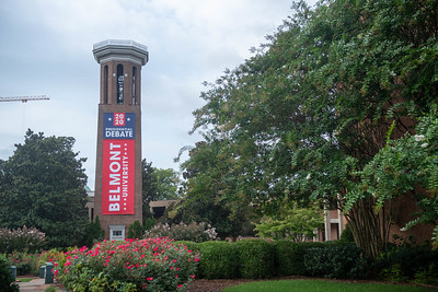 Debate Banner on Bell Tower complete