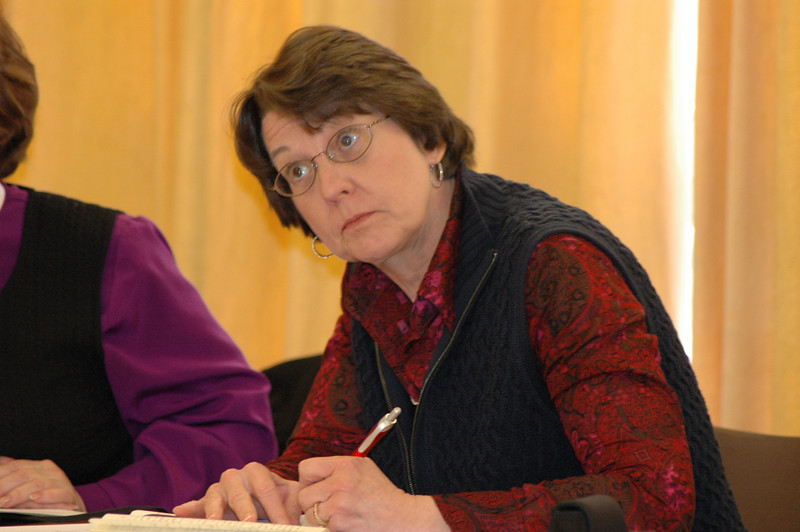 Mitzi Budde, Virginia Theological Seminary, Alexandria, and Lutheran co-chair, Lutheran-Episcopal Coordinating Committee,  takes notes during the Feb. 15 discussion in Geneva.