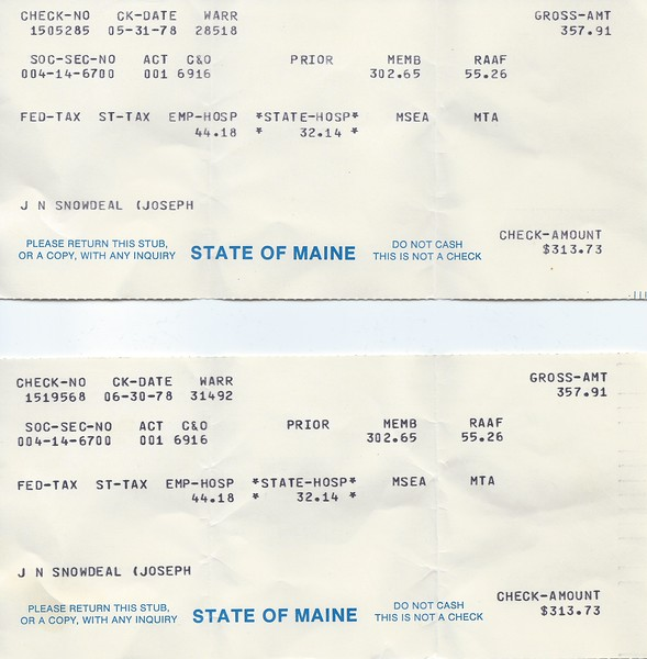 Bi-weekly pay stubs from State of Maine 1978