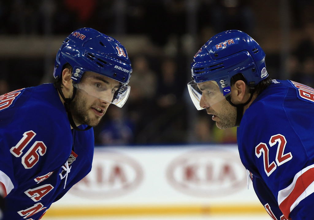 . NEW YORK, NY - NOVEMBER 13: Derick Brassard #16 and Dan Boyle #22 of the New York Rangers confer during the second period against the Colorado Avalanche at Madison Square Garden on November 13, 2014 in New York City.  (Photo by Bruce Bennett/Getty Images)