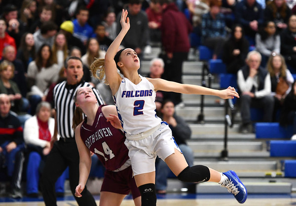 3/6/2020 Mike Orazzi | StaffrSt. Paul Catholic High School's Kailyn Bielecki (2) during the Class L Second Round Girls State Tournament with North Haven in Bristol on Friday night.