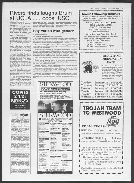 Daily Trojan, Vol. 95, No. 9, January 20, 1984