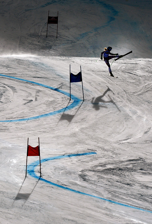 . BEAVER CREEK, CO - FEBRUARY 12: Eva-Maria Brem of Austria catches a ski and comes out of the gate as she competes in the first run of the Ladies Giant Slalom event at the FIS Alpine World Ski Championships in Beaver Creek, CO. February 12, 2015. (Photo By Helen H. Richardson/The Denver Post)