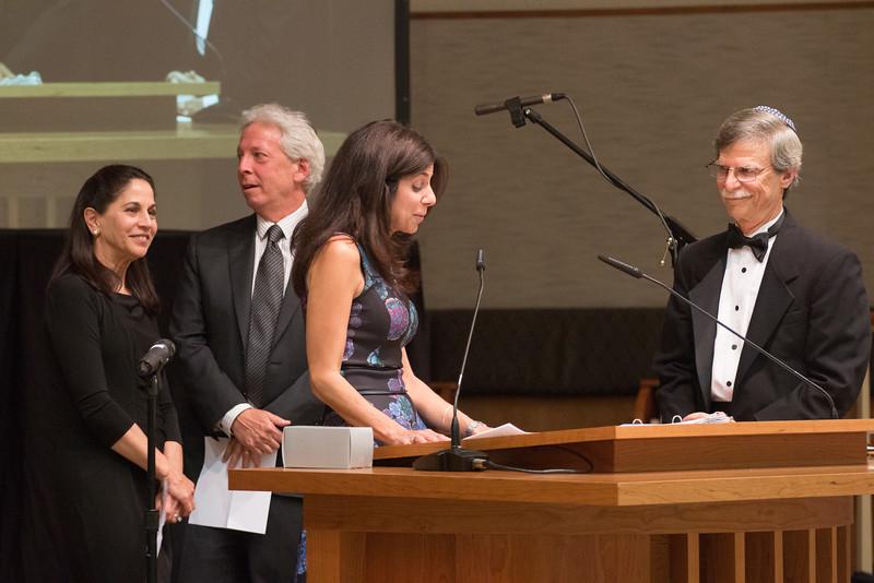 Margie Hoffman, Joe Hoffman, and Carolyn Weinberg  make the Congregational presentation (Kiddush cup) -- Tour de Rudolph -- Retirement tribute for Rabbi Bill Rudolph, Congregation Beth El, Bethesda, MD, May 17, 2015