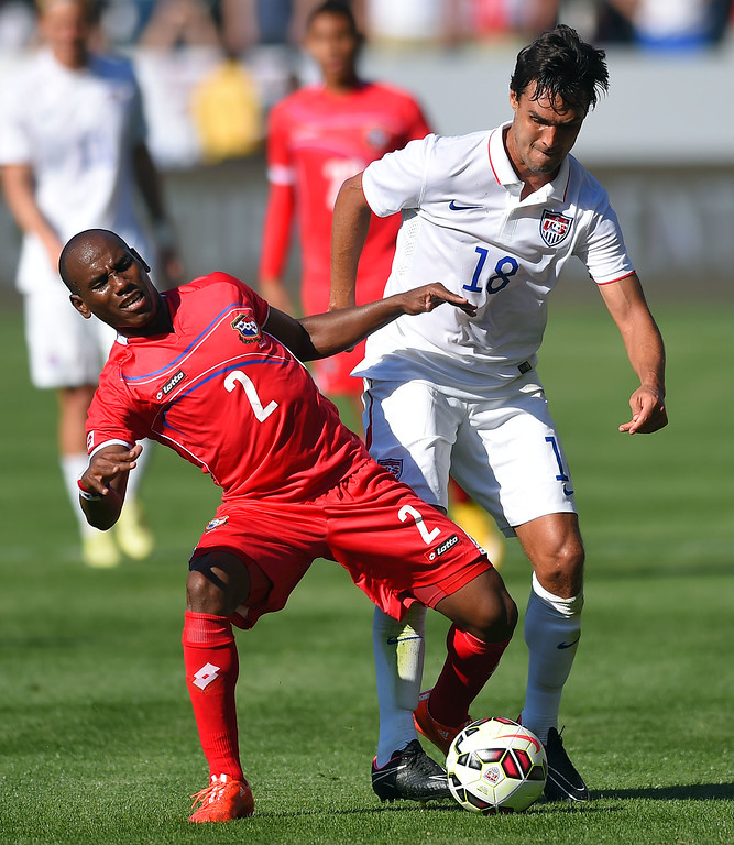 . Panama�s Leonel Parris, left, and USA�s Chris Wondolowski battle for the ball at the StubHub Center in Carson, CA on Sunday, February 8, 2015. US men\'s national team beat Panama 2-0 in an international friendly soccer match. 2nd half. (Photo by Scott Varley, Daily Breeze)