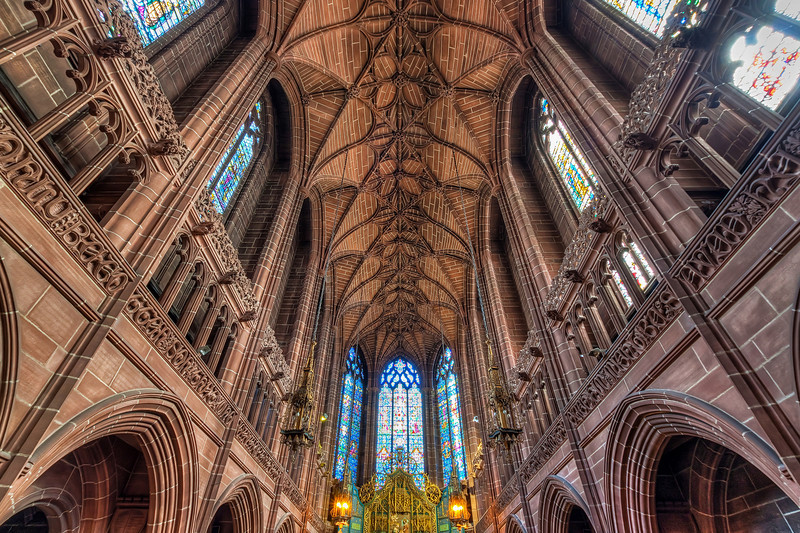 The ceiling of the Lady Chapel Just to add to the variability on my blog I edit old photos from time to time. And this is one from my visit to Liverpool in 2010.
