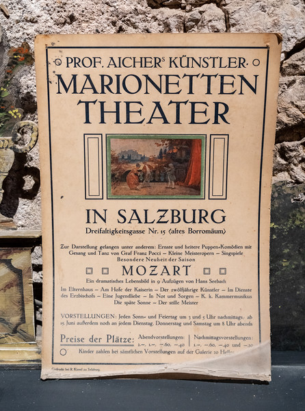 The fortress houses a collection of historic marionettes from the Salzburg Marionette Theatre