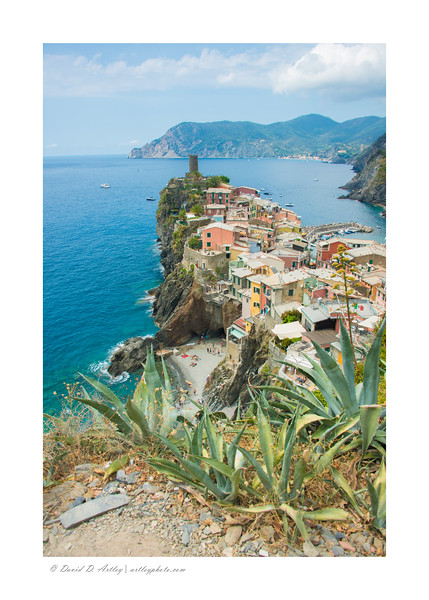 View of Vernazza from along the Trail No. 2 (Blue Trail) of Cinque Terre National Park,, Italy