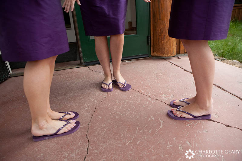 Purple wedding flip flops