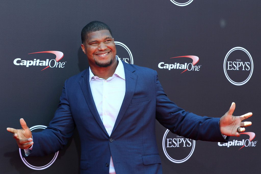 . Jacksonville Jaguars\' Calais Campbell arrives at the ESPY Awards at Microsoft Theater on Wednesday, July 18, 2018, in Los Angeles. (Photo by Willy Sanjuan/Invision/AP)