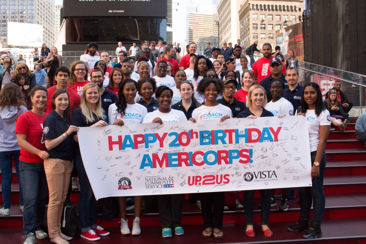 AmeriCorps members in Times Square, NYC celebrate the 20th Anniversary of AmeriCorps. Corporation for National and Community Service Photo.