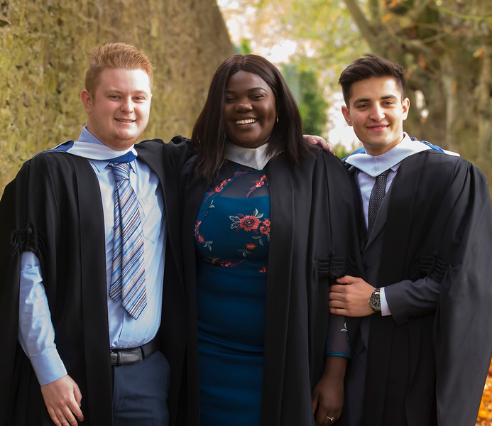 02/11/2018. Waterford Institute of Technology (WIT) Conferring Ceremonies 2018. Pictured are Like Hayden Kilmacow, Francisca Masombo Waterford and Faz Karimi waterford. Picture: Patrick Browne