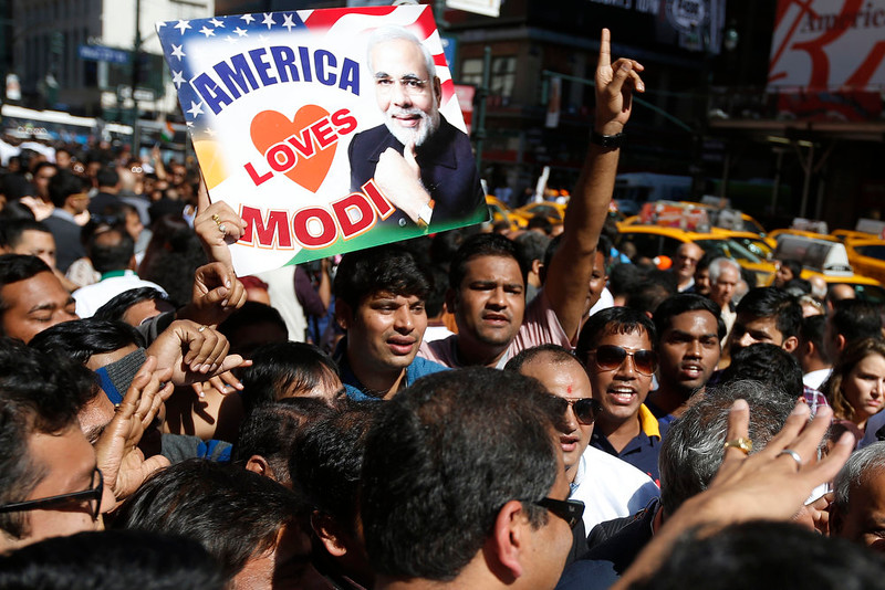 . Supporters of Prime Minister Narendra Modi of India crowd the streets outside Madison Square Garden after Modi gave a speech there during a reception by the Indian community in honor of his visit to the United States, Sunday, Sept. 28, 2014, in New York. (AP Photo/Jason DeCrow)