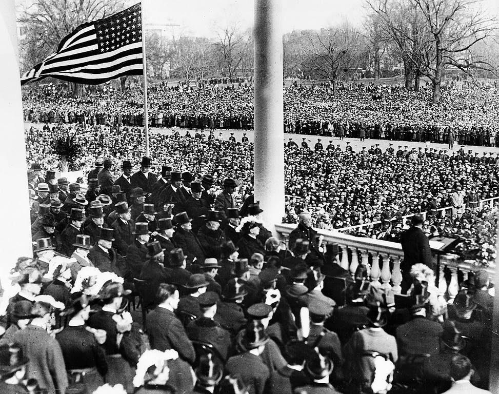 . U.S. President Calvin Coolidge, right foreground, delivers his inaugural address after taking the oath of office on the East Portico of the Capitol building in Washington, D.C. on March 4, 1925. Coolidge was sworn in as the 30th president of the United States.  (AP Photo)
