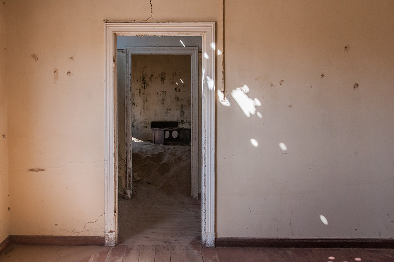 Inside abandoned building in Kolmanskopf in Luderitz, Namibia