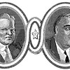 Herbert Hoover and FDR; illustration from the Claremont Review of Books, 2007