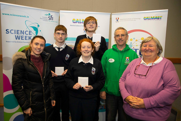 FREE TO USE IMAGE. Pictured during Science Week with WIT (Waterford Institute of Technology) by Calmast at the Regional ISTA Quiz, Pictured are Desmond Kavanagh, Lillian Hickey, Jack Donohoe, Ruth Hogan from Abbey Community College, Ferrybank, Waterford who came 1st, Also pictured his Olive Fitzsimons (Teacher), Eoin Gill Calmast WIT and Paula Hewison Science Teaches Association. Picture: Patrick Browne