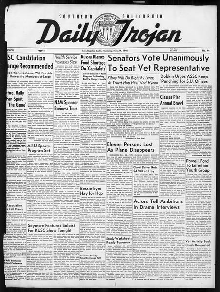 Daily Trojan, Vol. 38, No. 44, November 14, 1946