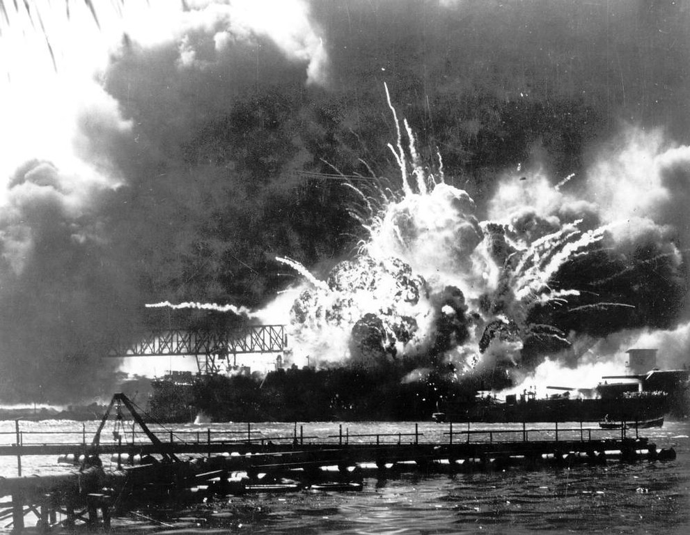 . The destroyer USS Shaw explodes after being hit by bombs during the Japanese surprise attack on Pearl Harbor, Hawaii, December 7, 1941. (AP Photo)
