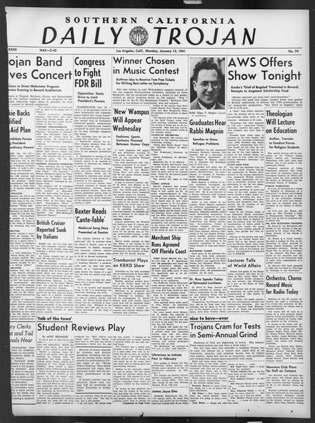 Daily Trojan, Vol. 32, No. 70, January 13, 1941