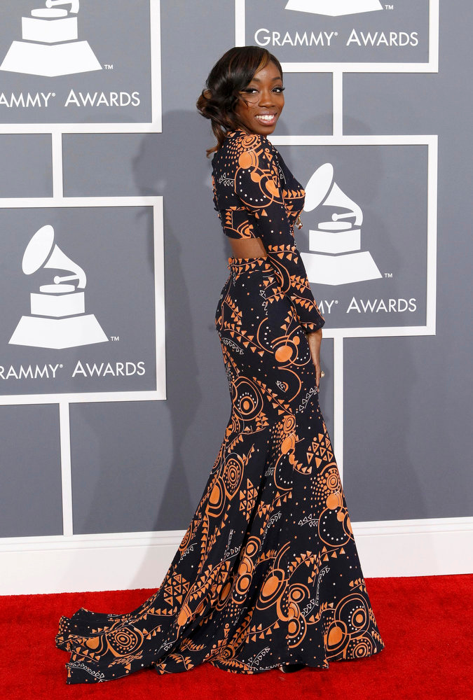 . R&B singer Estelle arrives at the 55th annual Grammy Awards in Los Angeles, California February 10, 2013.  REUTERS/Mario Anzuoni