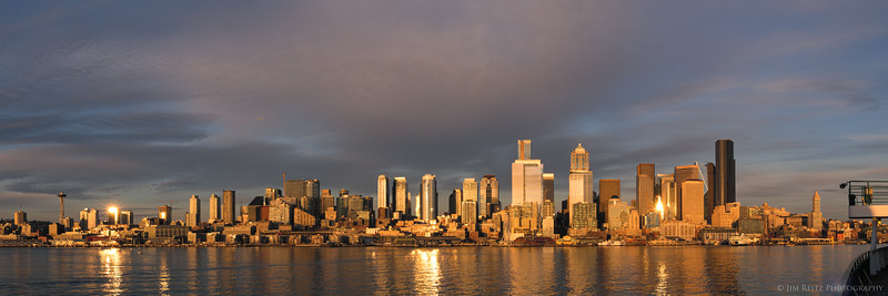 Seattle waterfront, sunset panorama.