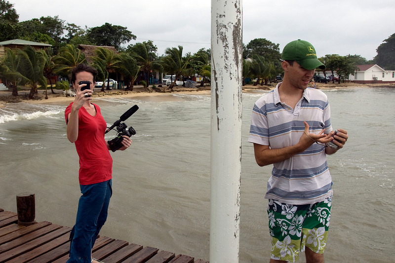 Shooting from a dock in Roatan, Honduras