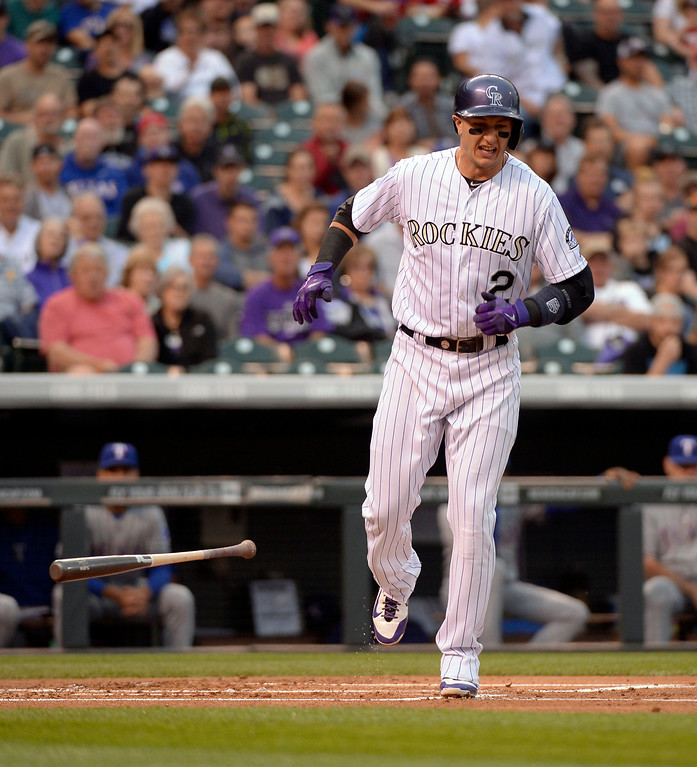 . DENVER, CO - MAY 06: Colorado Rockies shortstop Troy Tulowitzki (2) reacts after getting hit by a pitch by Texas Rangers starting pitcher Robbie Ross (46) in the first inning May 6, 2014 at Coors Field. (Photo by John Leyba/The Denver Post)