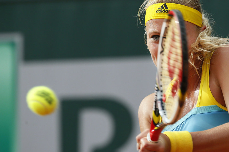 . France\'s Kristina Mladenovic returns to USA\'s Lauren Davis during their French Tennis Open first round match at the Roland Garros stadium in Paris, on May 28,  2013. KENZO TRIBOUILLARD/AFP/Getty Images