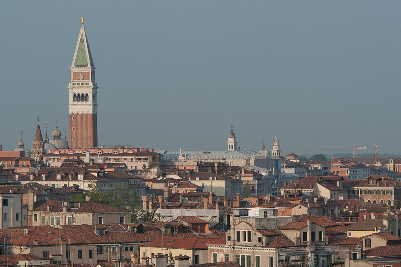 View of the St. Mark's bell tower and skyline in Venice, Italy