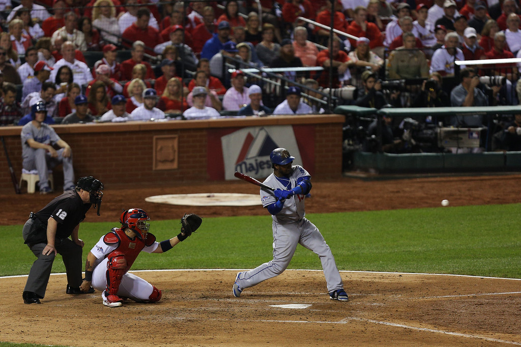 . ST LOUIS, MO - OCTOBER 11:  Hanley Ramirez #13 of the Los Angeles Dodgers grounds out in the fifth inning against the St. Louis Cardinals during Game One of the National League Championship Series at Busch Stadium on October 11, 2013 in St Louis, Missouri.  (Photo by Ed Zurga/Getty Images)