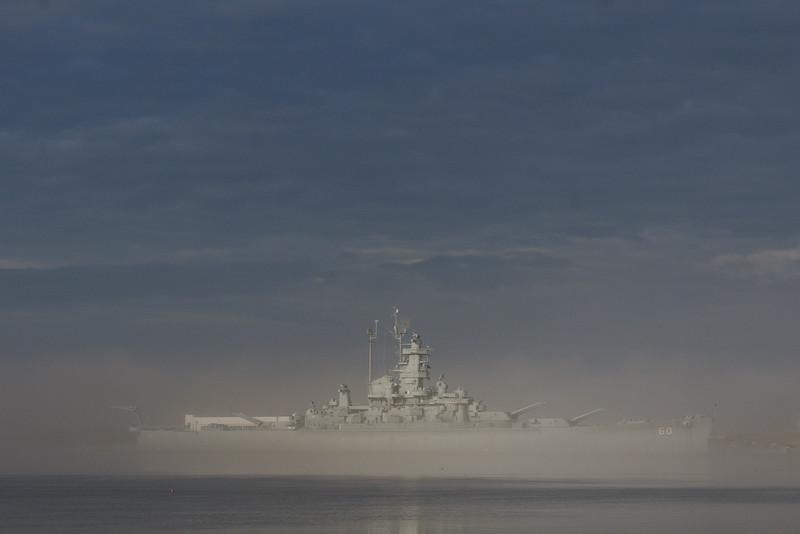 Fog surrounding the USS Alabama.