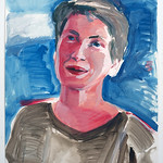Portrait study - Linda PS; acrylic on paper, 22 x 30 in, 2007